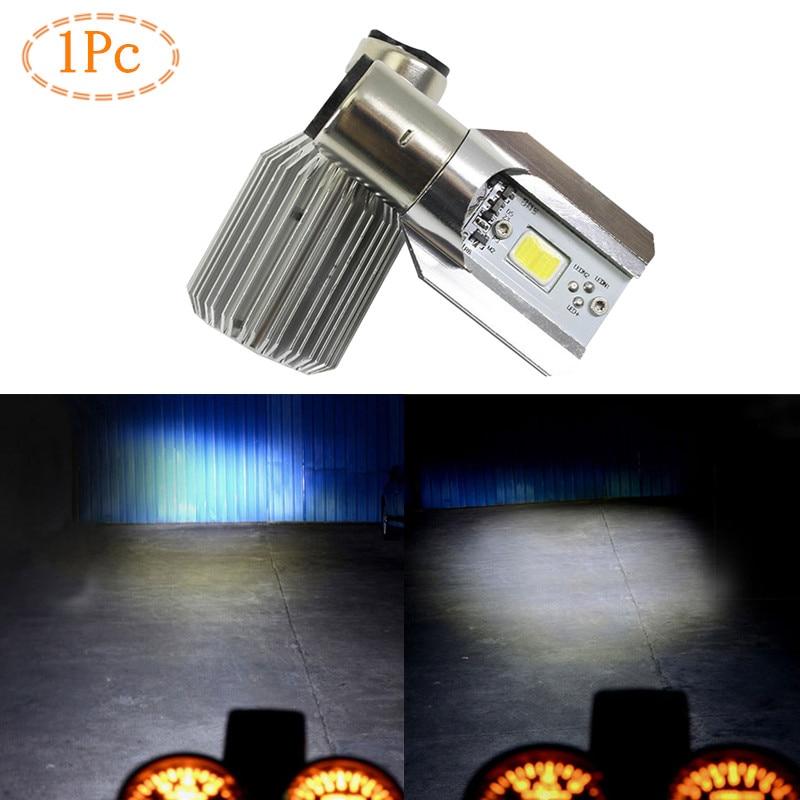 1Pc H6 Led Motorcycle Headlight Bulbs COB 1000LM BA20D 12W Leds H/L Lamp Scooter Moto Fog Lights