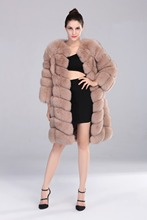 2017 New Style Detachable Sleeve Coat Real Genuine Natural Blue Fox Fur Long Coats Jacket for Women Vest Gilet with zipper