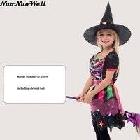 Gratis Verzending meisje Heks Kleurrijke Jurk met Kleine Hoed in kinderen Dag Party & Maskerade Carnaval Show & Nieuwjaar Party