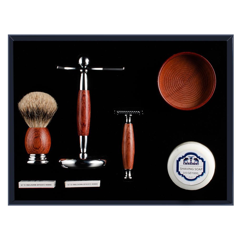 Grandslam palissandre lame de rasage rasoir de sécurité coffret cadeau meilleur blaireau cheveux rasage brosse Kit rasoir manuel socle pour rasoir Kits de support - 2