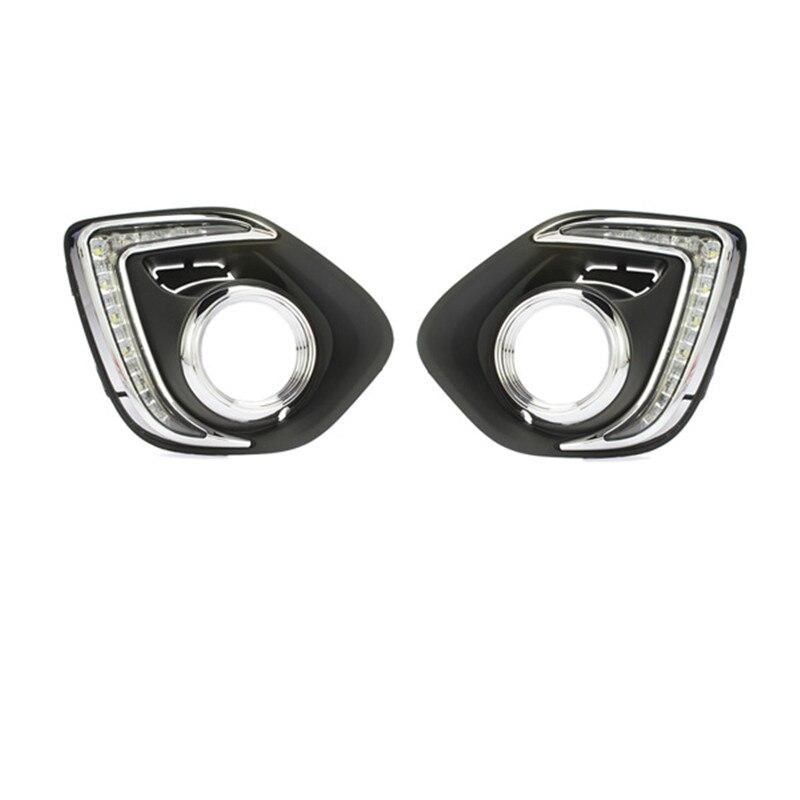 Tcart car styling For Mitsubishi ASX 2013 2014 LED DRL Daytime driving Running Lights Daylight Waterproof Fog Head Lamp white