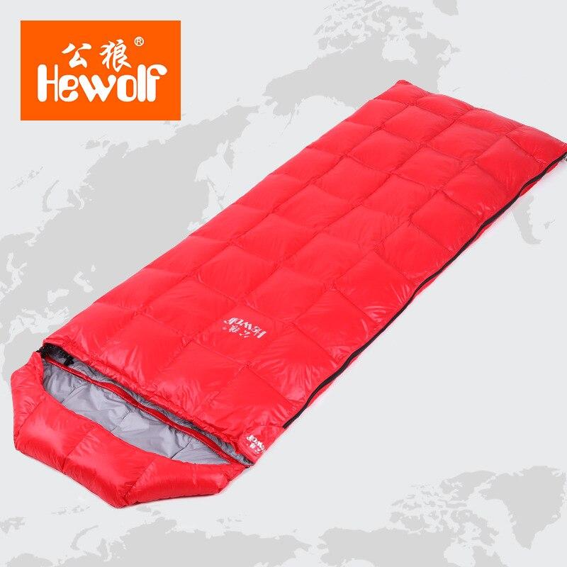 Hewolf Winter Outdoor Adult Waterproof Envelope Sleeping Bag Ultralight Down Camping Hiking Hunting portable Mummy Sleeping Bags