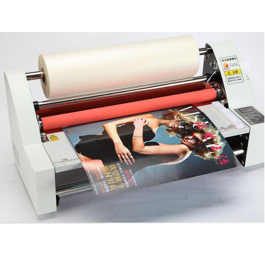13 V350 Laminator Four Rollers Hot Roll Laminating Machine Electronic Temperature Control Single,Heating Mode Sealing Width35cm