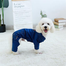 Puppy Dog Clothes Denim Jumpsuit For Dog For Small Large Dog Yorkshire Terrier Bulldog Spring Autumn Romper Coat Costume Overall(China)