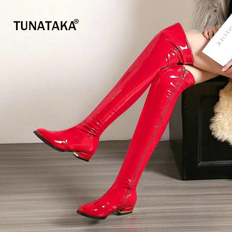 Cuir verni confort talon carré femme au dessus du genou bottes fermeture éclair latérale mode Party femme cuissardes noir rouge abricot-in Cuissardes from Chaussures    1