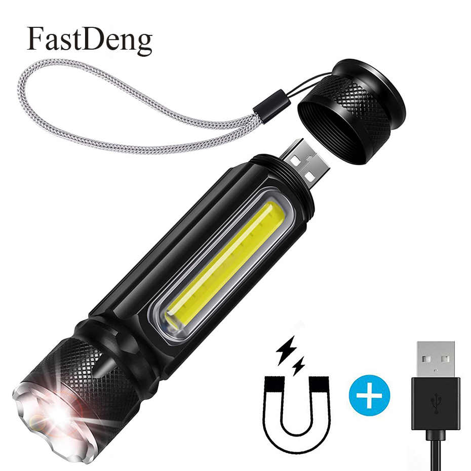 USB Rechargeable Flashlight Mini Handheld Lamp COB Side Light Magnet 4 Modes Zoomable LED Torch Waterproof Tactical Flashlight
