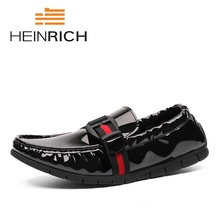 HEINRICH Fashion Mens Casual Shoes Genuine Leather Slip On Loafers Men Breathable Summer Autumn Brand Luxury