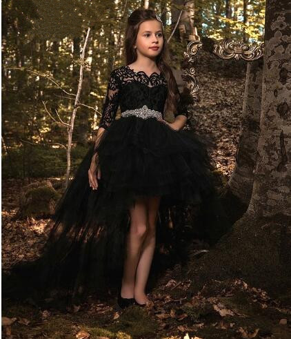 New Black Lace Flower Girl Dress for Wedding High Low Half Sleeves with Beaded Sash Girls Pageant Gown Size 2-16Y green crew neck roll half sleeves mini dress