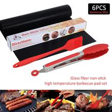 8PCS Glass Fiber Non-stick High Temperature Barbecue Pad Set Outdoor Non-Stick Multi-function Mat Reusable