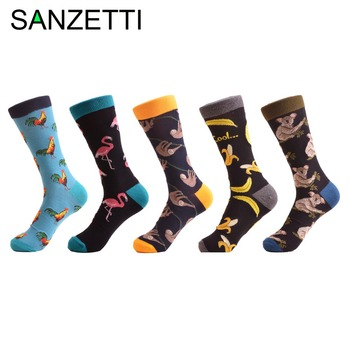 SANZETTI 5 pairs/lot Colorful Men's Cotton Causal Crew Socks Flamingos Cock Pattern Dress Wedding Socks Novelty Skateboard Socks