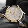Business men watch classic luminous luxury brand leather strap elegant fashion leisure waterproof quartz masculine wristwatch