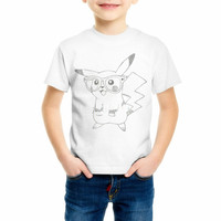 Summer Kid Pokemon Children T shirts Cartoon Pikachu T-shirt Boys Clothes Pocket Monster Girls clothing C20-22
