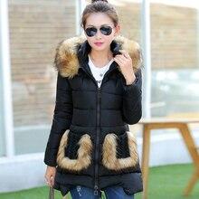 Тонкий меховой воротник из меха карманы тонкой женщины пуховик длинный зимнее куртка с капюшоном для леди парки хлопок лайнер одежда YM86509