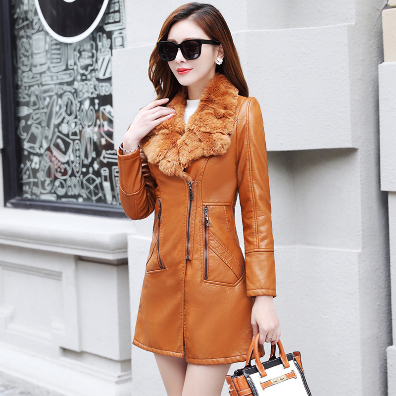 Fashion Women's Autumn Winter Long   Leather   section PU   leather   Jackets Fur collar Warm   leather   Outerwear Coats Slim Windbreaker