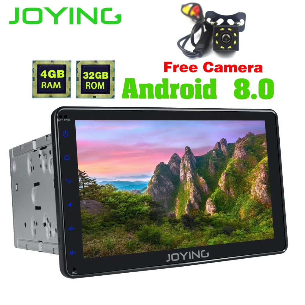 JOYING 8 2Din 4GB+32GB Universal Android Car Radio Stereo GPS Navigation Tape Recorder Player With Free Rear Camera Head Unit joying 2gb hd 10 touch screen 2din android 8 0 car auto radio stereo audio steering wheel head unit gps tape recorder free obd