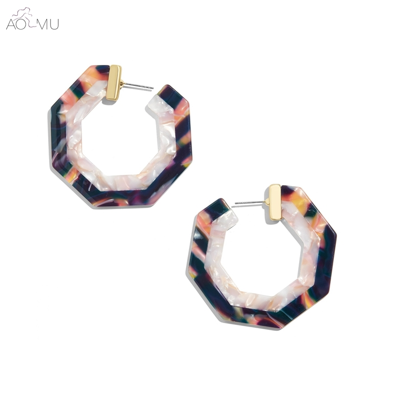 AOMU Exaggeration Geometric Hexagon Acetate Acrylic Two-tone Pattern Big Hoop Earrings for Women Girl Party Gift Jewelry Bijoux