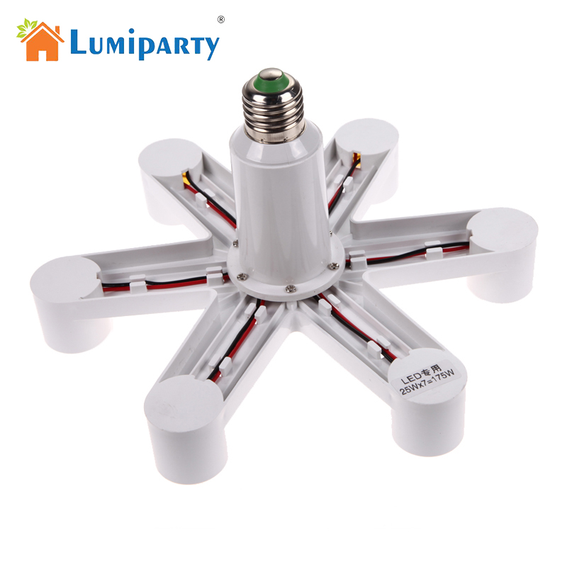 LumiParty New 1 To 7 E27 Socket Base LED Splitter Plug Halogen Light Lamp Bulb Holder Copper Contact Adapter Converter