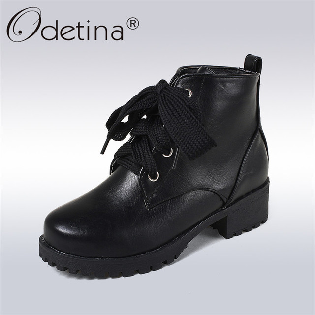 fdd7ce933b0b Odetina 2018 New Fashion Winter Women Ankle Boots Comfortable Female Lace  Up Short Boots Platform Work Safety Shoes Big Size 44