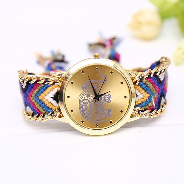 Fashion Elephant Multicolor Fabric Band Women's Quartz Wristwatch Folk-Custom Style Women's Bracelet Watch Handmade Reloj Mujer