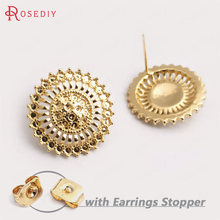 (34995)6PCS Sun Flower 20MM 24K Gold Color Brass Sun Flower Stud Earrings High Quality Diy Accessories Jewelry Findings(China)