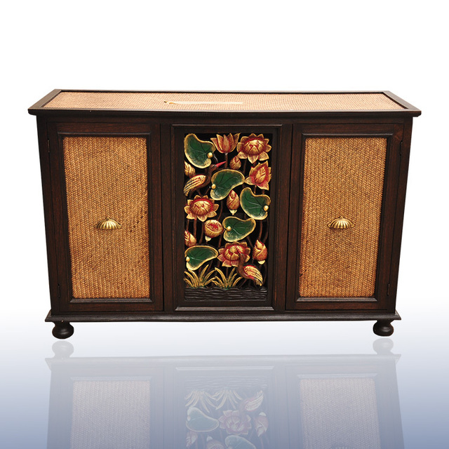 Southeast Asia Solid Wood Carved TV Cabinet Entrance Living Room Furniture  Ready Curio Wine Cabinet Wine