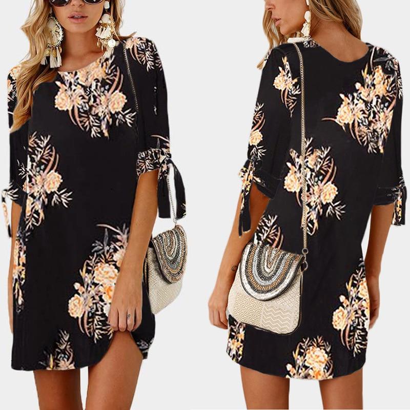 S-5XL Large Size Summer 2019 Fashion Women Dress Half Sleeve Flower Print Vintage Dress Loose Plus Size Women Clothing Vestios