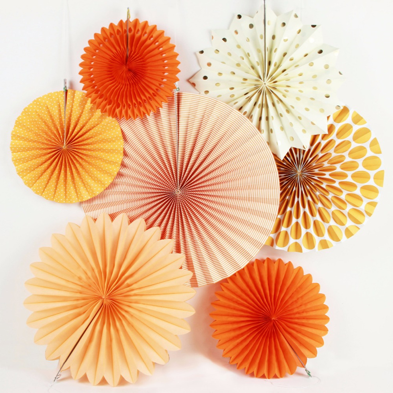 New Orange Set Paper Crafts Home Hanging Decoration Party Birthday Wedding Baby Shower Sunshine Colore brillante Ventaglio di carta
