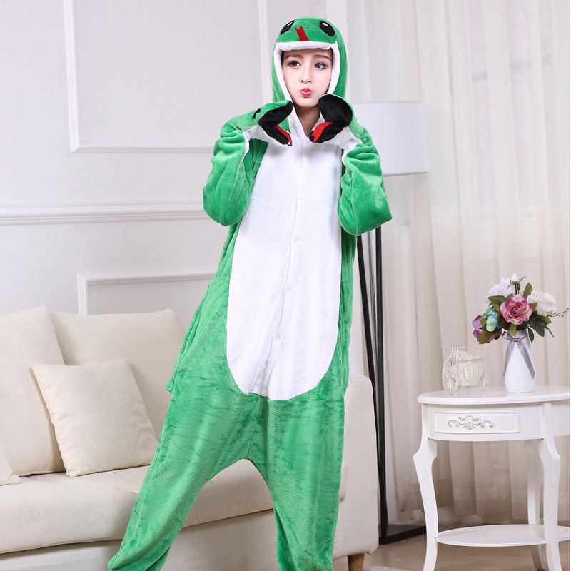 Funny Soft Green Snake Flannel Unisex Adult Pajamas Kigurumi Cosplay Costume Animal Onesie Sleepwear For Halloween Cosplay (4)