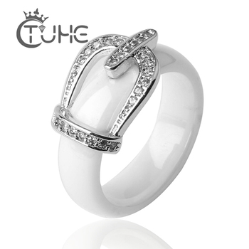 Женское керамическое кольцо с короной принцессы, обручальное кольцо с микро закрепкой из фианита класса ААА, ювелирные изделия на годовщин...