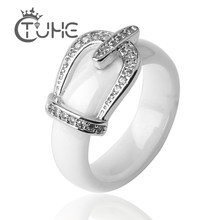Big Size 11 12 Princess Crown Ceramic Rings For Women AAA Cubic Zirconia Micro Pave Setting Engagement Ring Anniversary Jewelry(China)