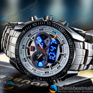 Image 3 - TVG Brand Luxury Stainless Steel Clock Digital Sports LED Watches Men 30M Dual Movements Waterproof Watches Relogio Masculino