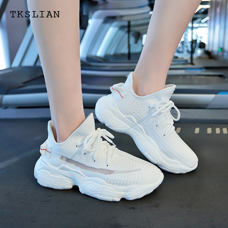 Fashion Summer sneakers for women platform shoes woman 2019 mesh breathable shoes female women's trainers girls white black shoe(China)