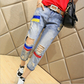 2015 Summer Style Womens Blue Cotton Denim Pants Wild Personality Hole Casual Loose Calf-length Pants Trousers A-148