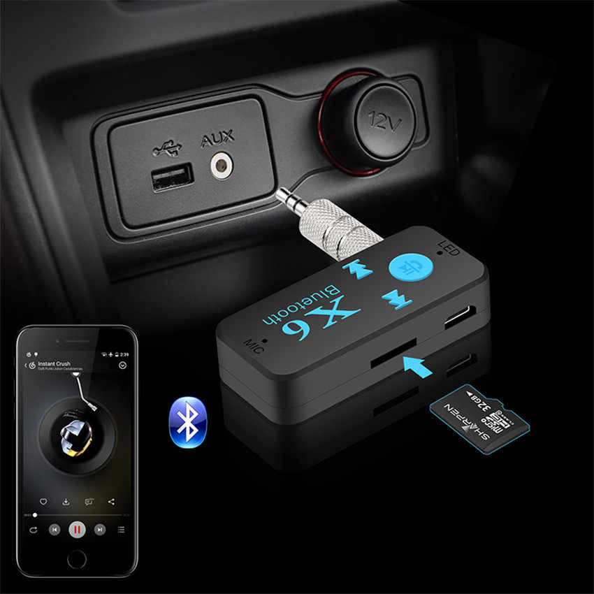 3 in 1 bluetooth car kit v4.1 bluetooth ontvanger 3.5mm aux + TF kaartlezer + handsfree call stereo audio ontvanger muziek adapter