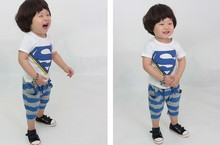 summer child super man style short t shirt +stripe shorts fashion children's outerwear clothes cool boys casual clothes suit