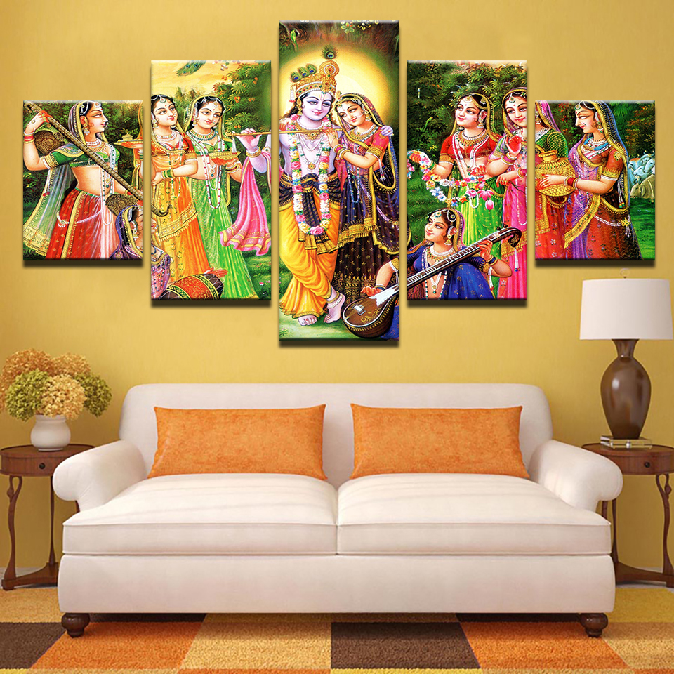 5 pieces canvas paintings India Myth Lord Krishna Pictures home ...
