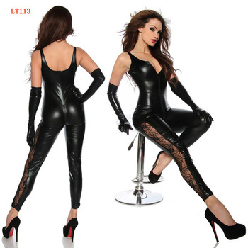 Women Black Faux Leather Catsuit With Front Zipper To Crotch Adult Sleeveless PVC Play Costume Sexy Fetish Latex Bodysuit