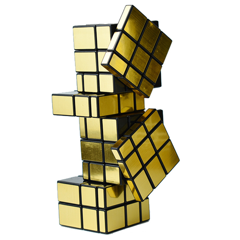 Siamese Conjoined 3 3 9 Mirror Magic Cube Bump Cubes Educational Toy for Kids Children Golden