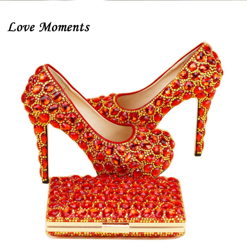 New arrival red/gold stones rhinestone wedding shoes ultra high heels woman shoes with matching bag Bride shoes women's Pumps the new 2017 diamond red bride wedding shoes pointed the bride wedding toast with velvet like shoes fashion