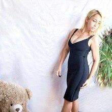 new arrival 2018 white spaghetti strap bodycon knee-length bandage dress women deep v neck party club Vestido in wholesale