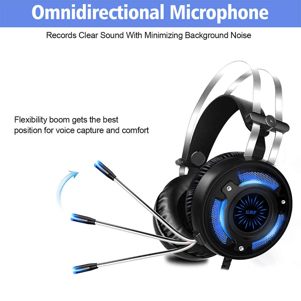 alwup-6 gaming headset for ps4 xbox one with microphone gaming  headphones for computer pc