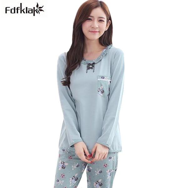 10722cc475 New brand cotton winter pajamas women casual plus size ladies long sleeve  pyjama set night suit pijama feminino 3XL A0689