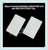 100 pçs/lote Proximidade Regravável 125 KHZ Cartão RFID com 5567/T5577/T5557 Chip