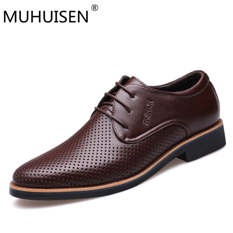 MUHUISEN Summer Breathable Hollow Casual Shoes Men Leather Shoes Fashion Designer Soft Moccasins Slip on Loafers Chaussure Homme цены онлайн