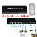 HD 1080p 2 in 6 out HDMI Splitter 2x6 HD HDTV Video Audio HDMI Extender over single RJ 45 Cat 5E/6 to 60m support 3D