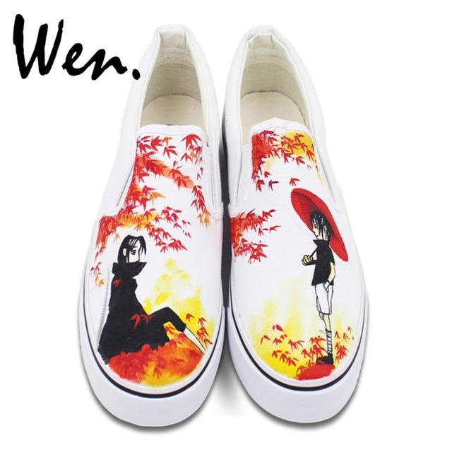 Wen Anime Hand Painted Canvas Sneakers Custom White Slip On Shoes Naruto Sasuke Men Women's Skateboarding Shoes for Gifts