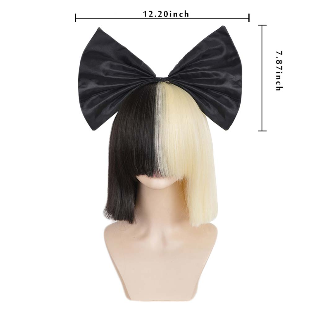 Image 5 - 3494 Xi.rocks Short Ombre Hair Wigs For Women Straight SIA Wig Cosplay Black Blonde Bob Wigs with bangs Synthetic false hairSynthetic None-Lace  Wigs   -