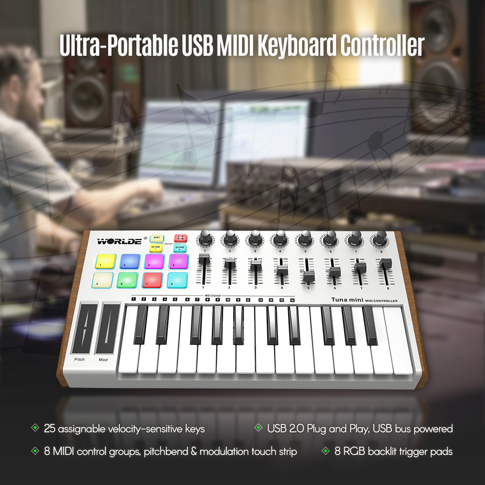 WORLDE TUNA MINI Ultra-Portable 25-Key USB MIDI Keyboard MIDI Controller 8 RGB Backlit Trigger Pads with 6.35mm Pedal Jack