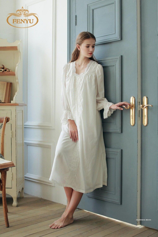 Free Shipping 100% Soft Cotton Gauze Princess Style Women\'s White ...