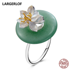 LARGERLOF Ring Silver Women 925 Sterling silver Rings Handmade Jade Silver 925 Jewelry Vintage rings JZ57540